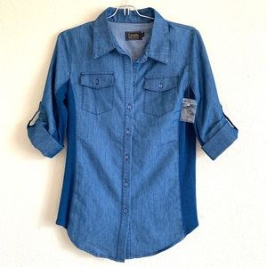 CAVALINI Denim Tab Sleeve Button Front Top Size S